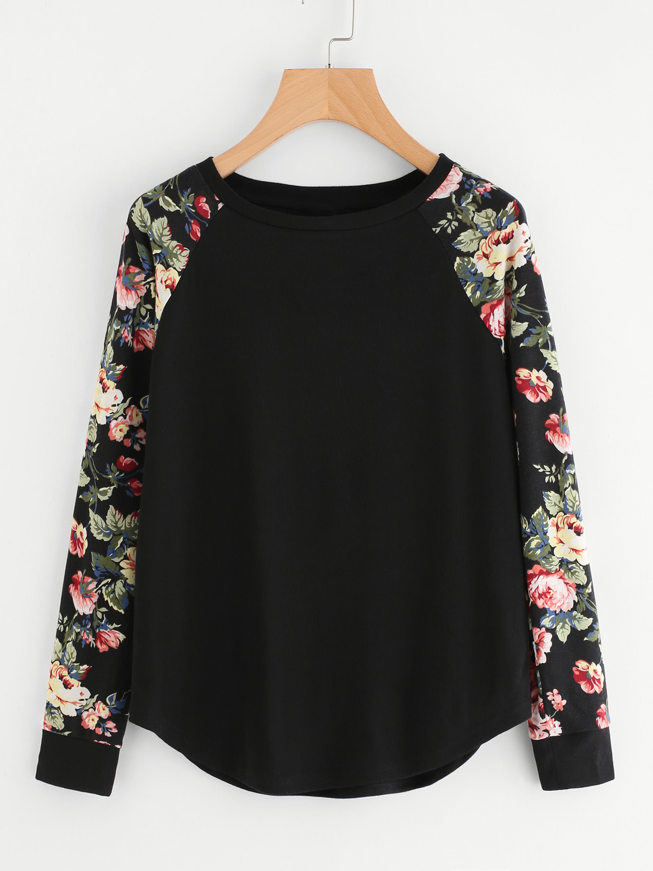 Floral Raglan Sleeve Curved Hem Top plus size floral curved hem baggy top