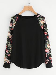 Floral Raglan Sleeve Curved Hem Top