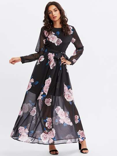 Self Belted Flower Print Hijab Evening Dress