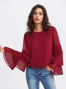 Tiered Frill Sleeve Layered Chiffon Blouse