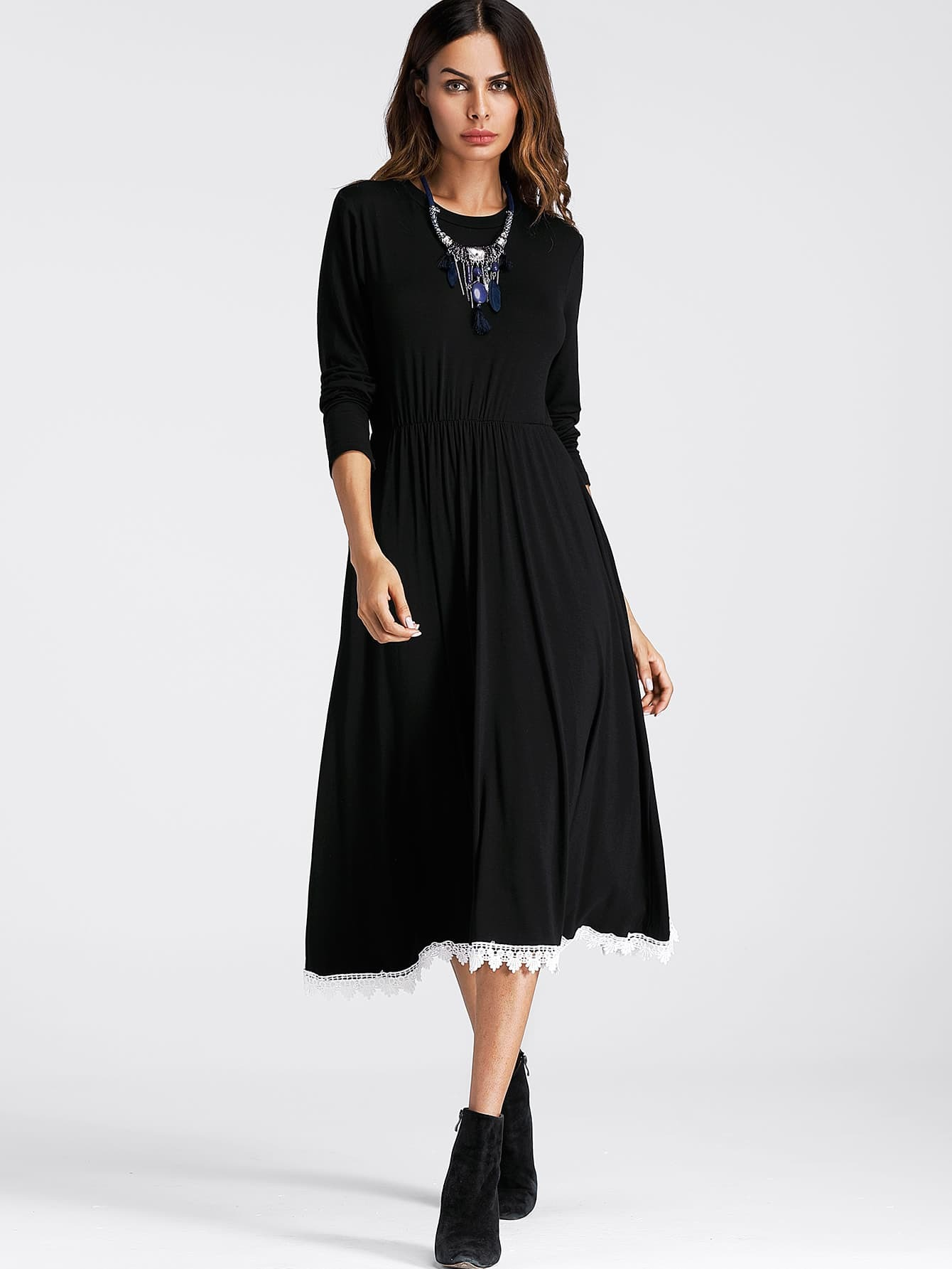 Contrast Crochet Hem Swing Dress crochet openwork swing dress