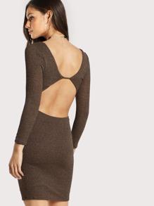 Back Cut Out Quarter Sleeve Dress BRONZE