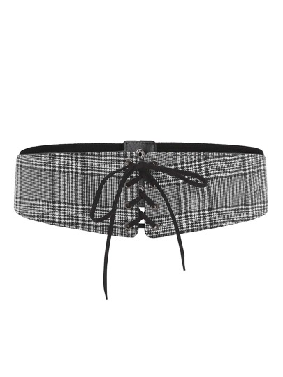 Lace Up Plaid Elastic Belt