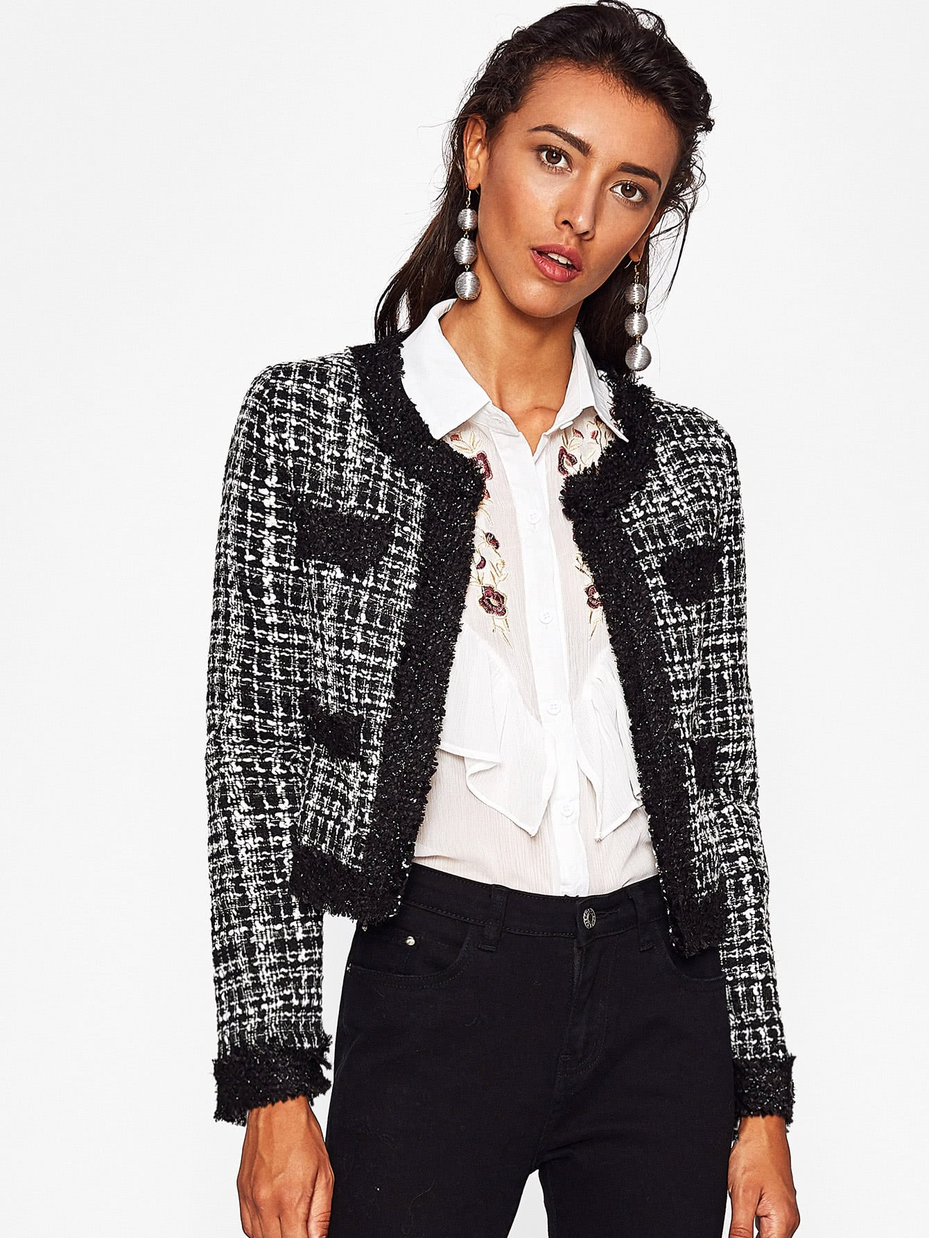 Contrast Frayed Edge Tweed Blazer