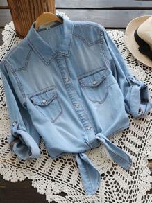 بلوزة جينزكم لفة عقدة الجبهة