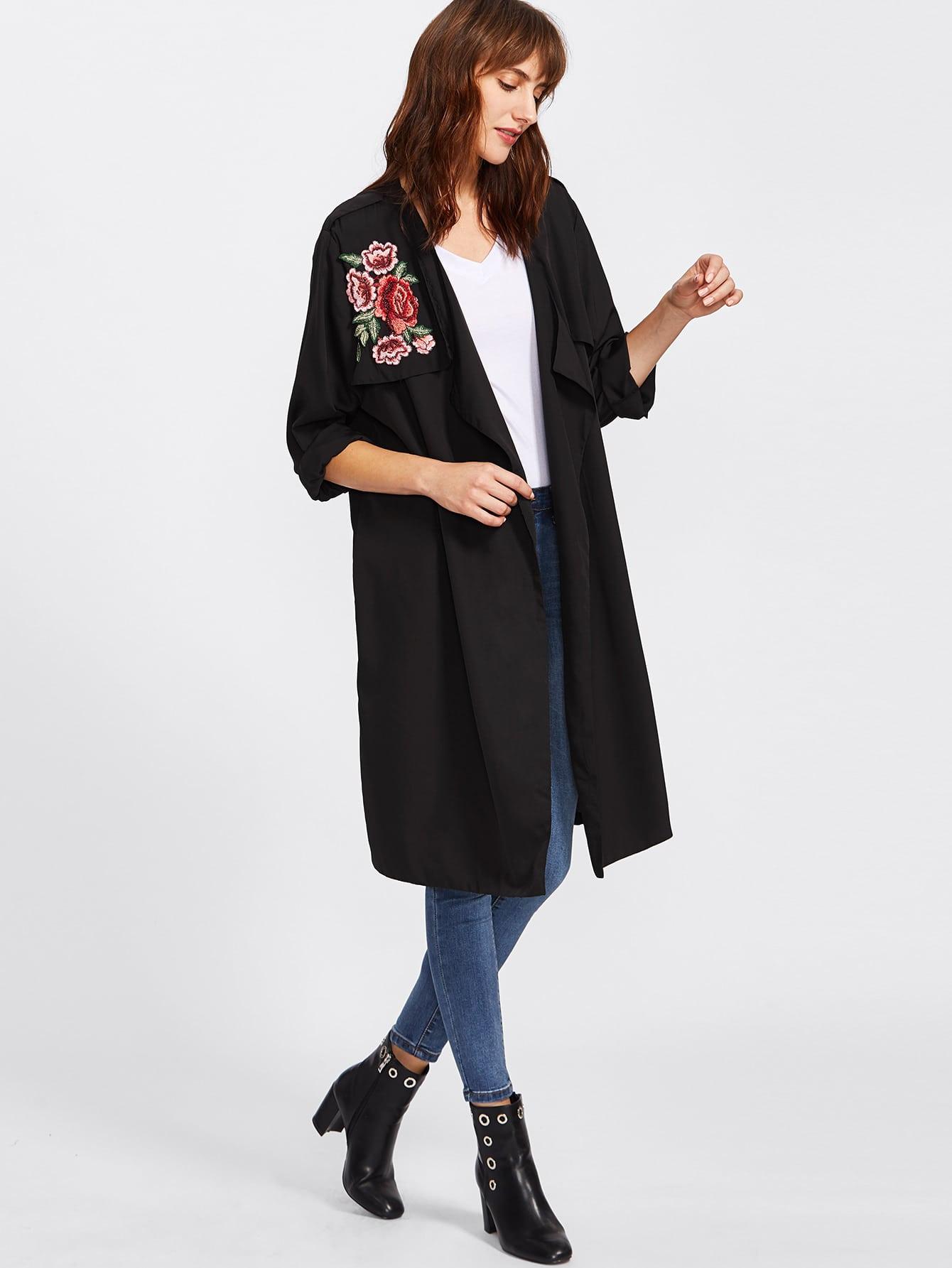 Embroidered Rose Applique Longline Cardigan Coat -SheIn(Sheinside)