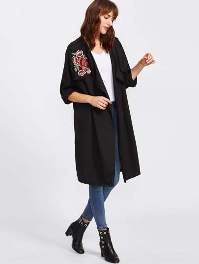 Embroidered Rose Applique Longline Cardigan Coat