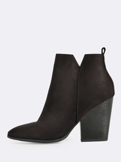 Wood Heel Boots BLACK