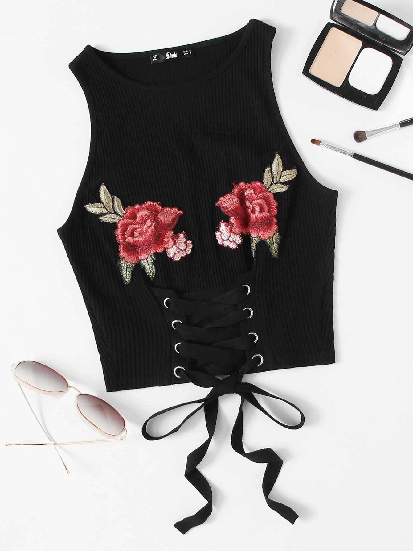 Embroidered Rose Patch Lace Up Ribbed Tank Top lace embroidered tank top