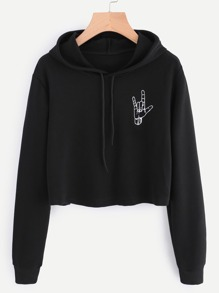 Hand Print Hooded Crop Sweatshirt