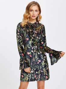Tie Neck Trumpet Cuff Botanical Velvet Dress