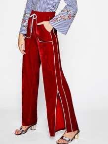 Tipping Detail Slit Side Velvet Pants