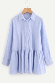 Button Up Tiered Pinstripe Blouse
