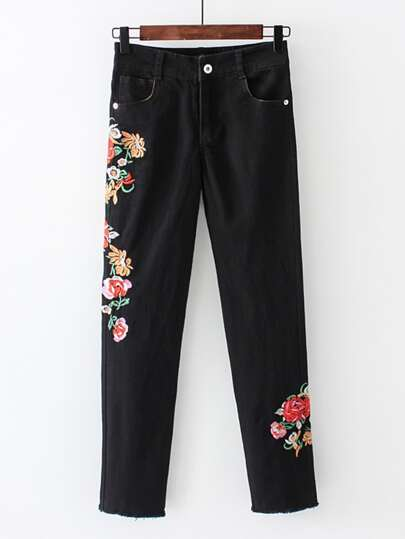 Flower Embroidery Skinny Jeans
