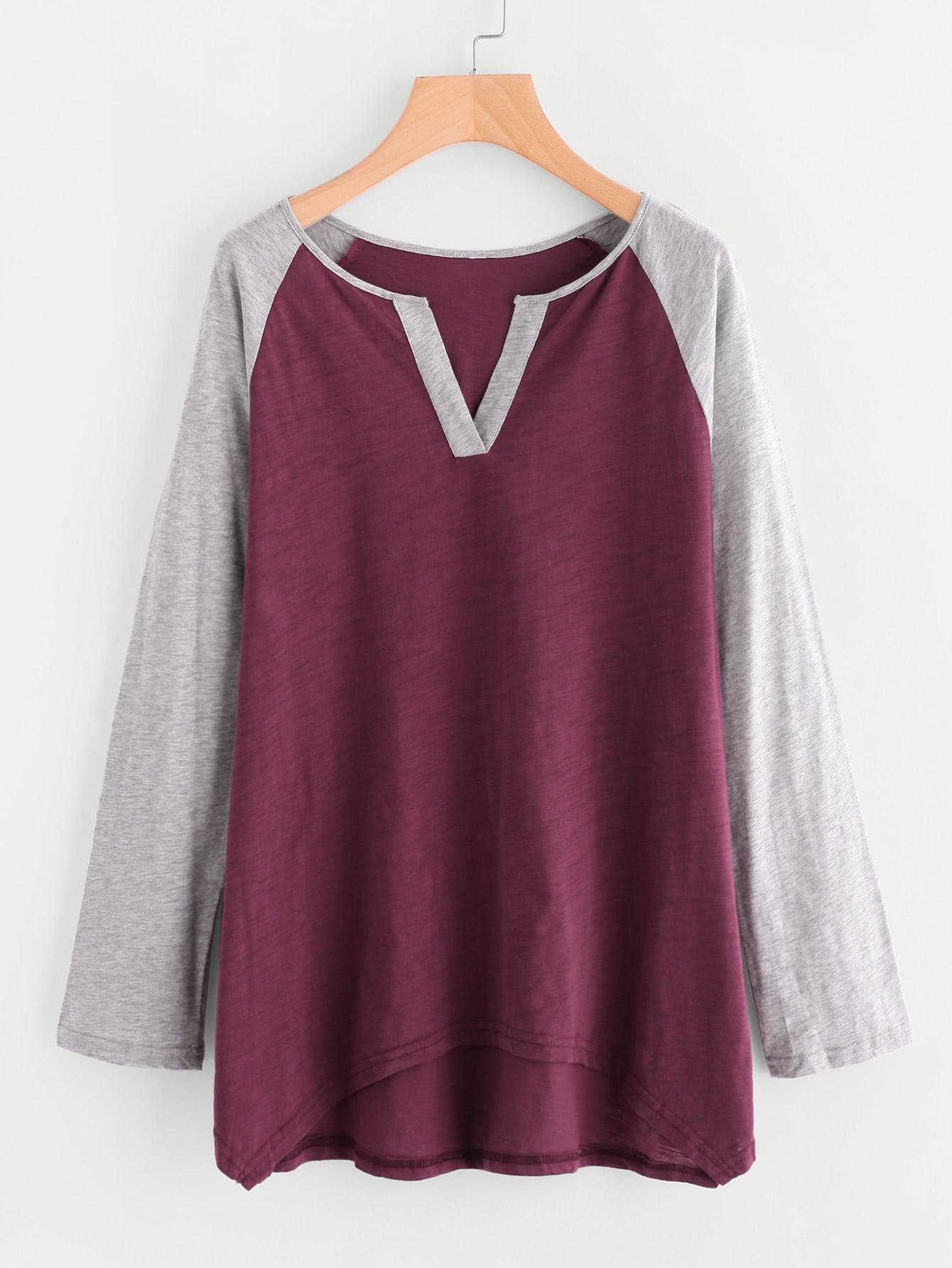 Contrast V Notch And Raglan Sleeve Slub T-shirt