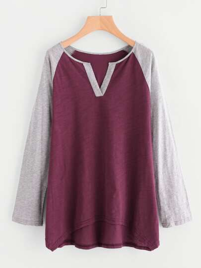 Contrast V Notch And Raglan Sleeve Slub T-shirt