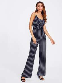 Striped Knot Front Cut Out Back Cami Jumpsuit