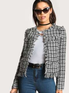 Tweed Distressed Hem Blazer BLACK WHITE