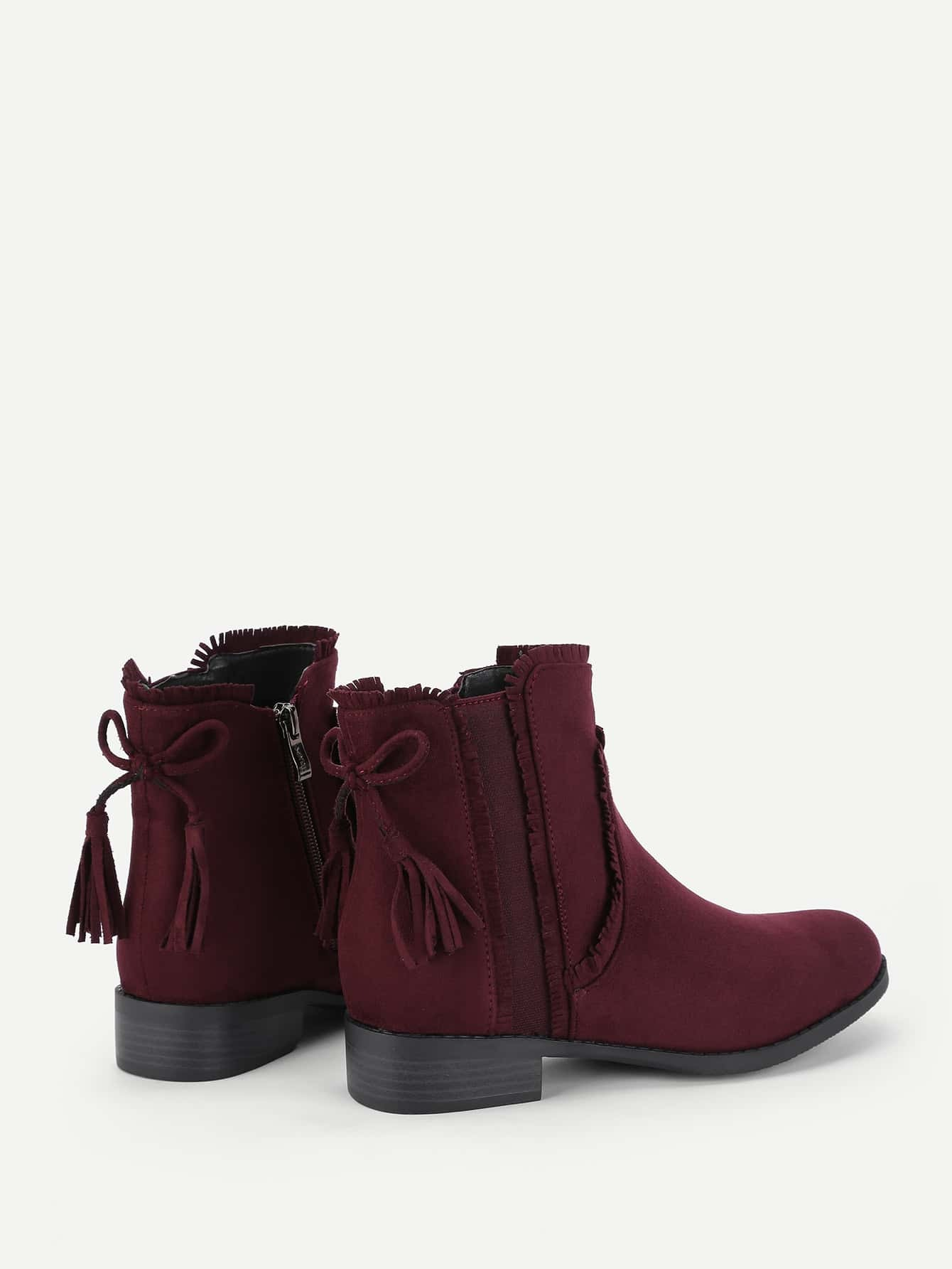 Tassel Bow Back Block Heeled Ankle Boots