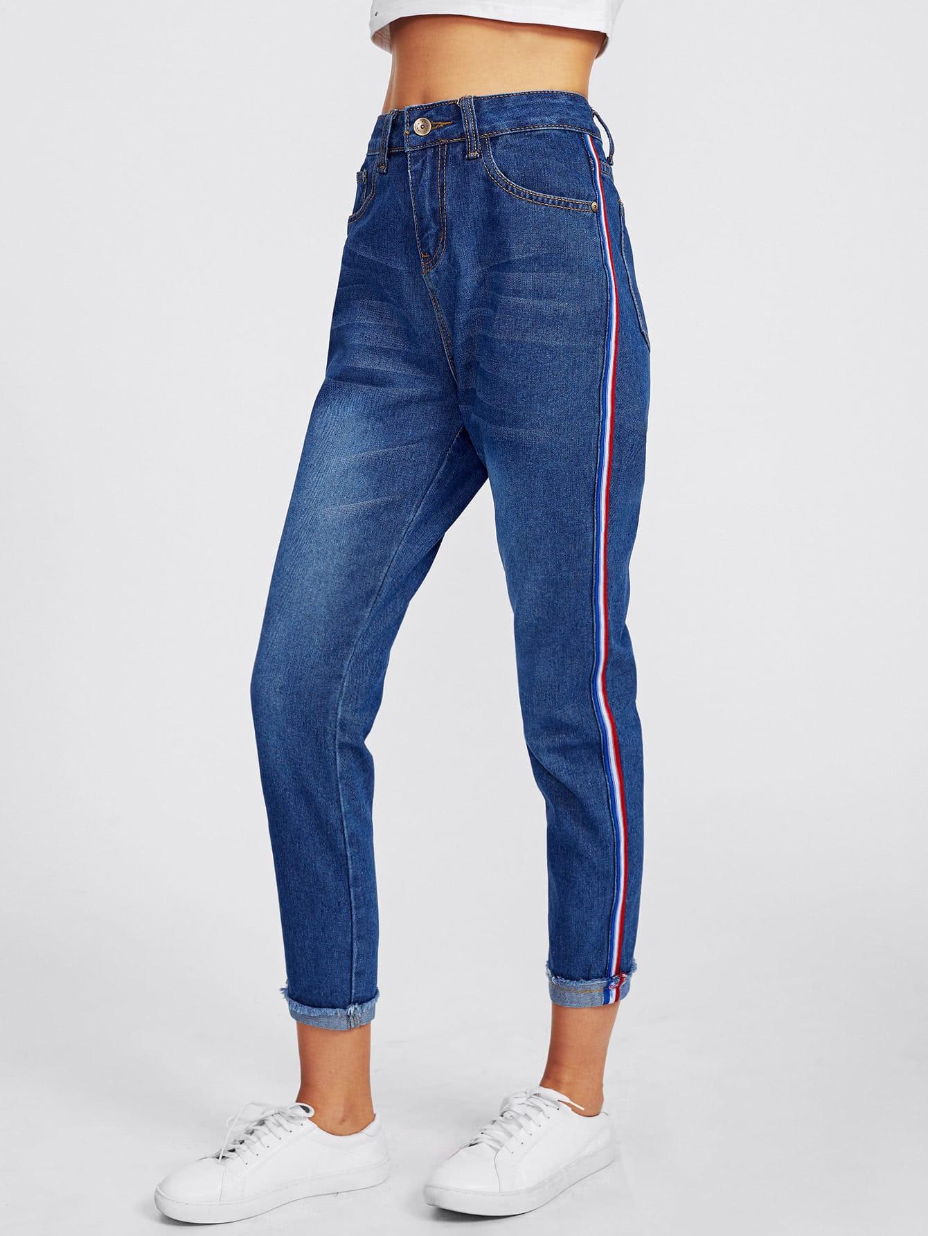 Contrast Side Striped Rolled Frayed Hem Jeans solid rolled hem pants