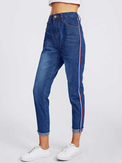 Contrast Side Striped Rolled Frayed Hem Jeans