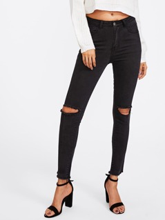 Knee Ripped Black Wash Jeans