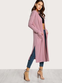 Shawl Collar Side Slit Cardigan