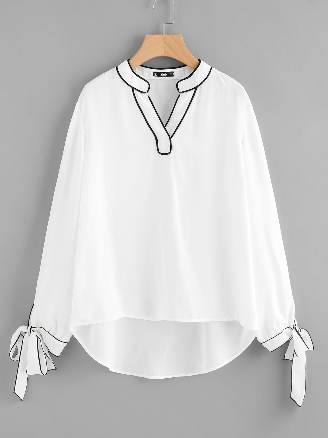 Tipping Detail Bow Tie Cuff Blouse bow tie cuff contrast patch pocket detail shirt