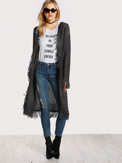Distressed Hem Soft Knit Cardigan GREY