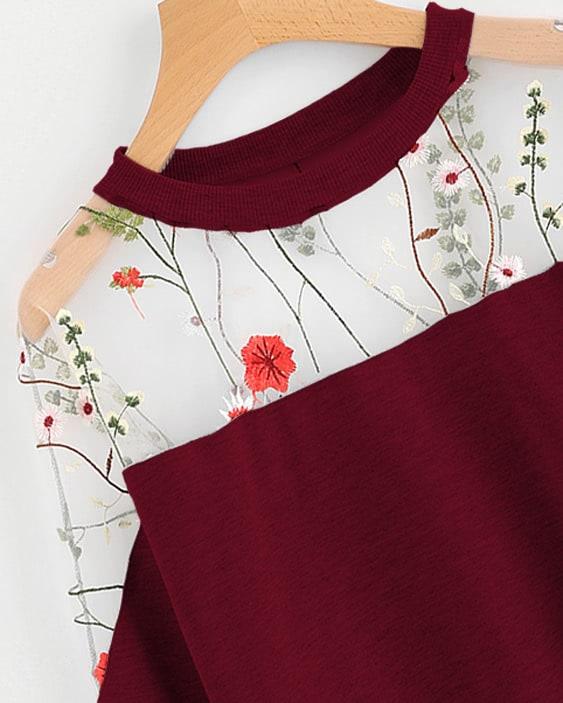 Embroidery Mesh Paneled Sweatshirt