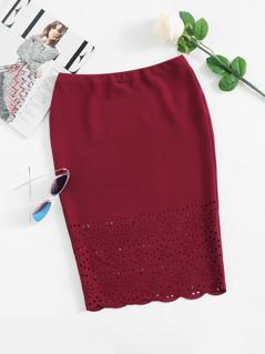 Scalloped Laser Cut Form Fitting Skirt