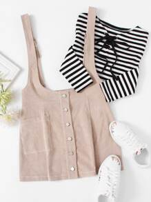 Single Pocket Buttoned Cord Pinafore Skirt