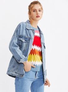 Drop Shoulder Faded Denim Jacket