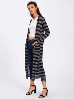 Two Tone Pocket Longline Coat