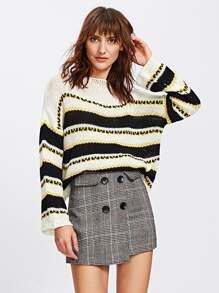 Loose Knit Striped Boxy Sweater