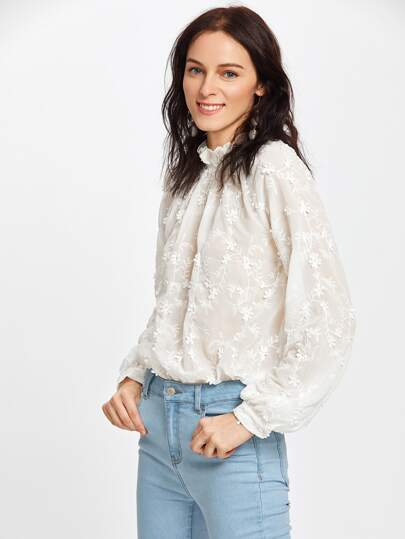 Frilled Neck Scallop Hem Applique Embroidered Top
