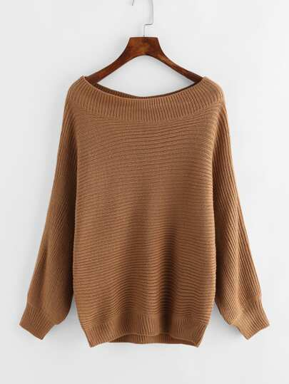 Boat Neckline Textured Knit Sweater