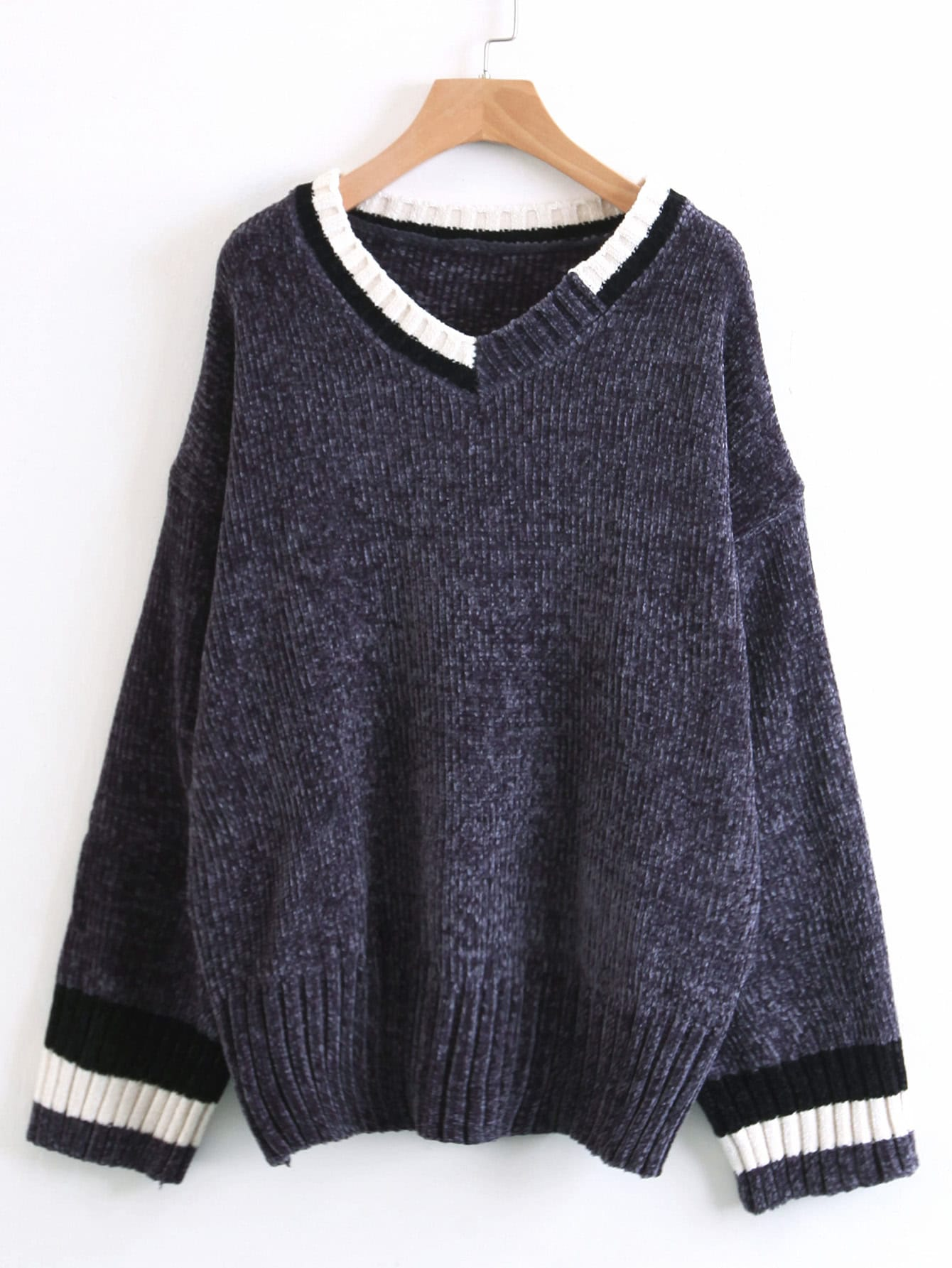 Striped Trim Jumper Sweater