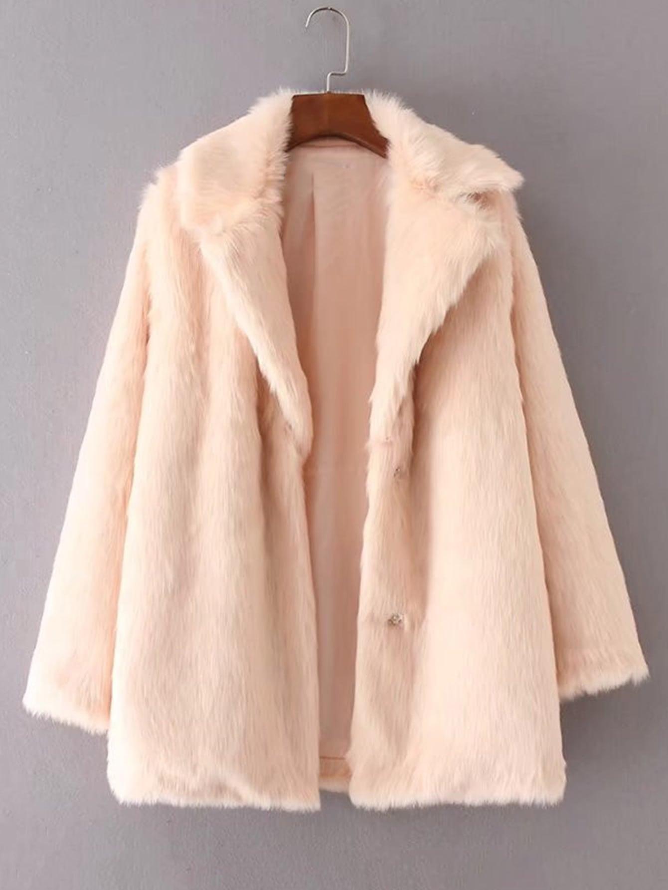 Hidden Button Faux Fur Coat