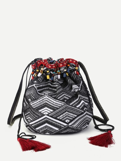 Beaded Detail Tassel Drawstring Backpack