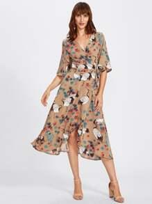 Crane Bird Print Surplice Wrap Dress
