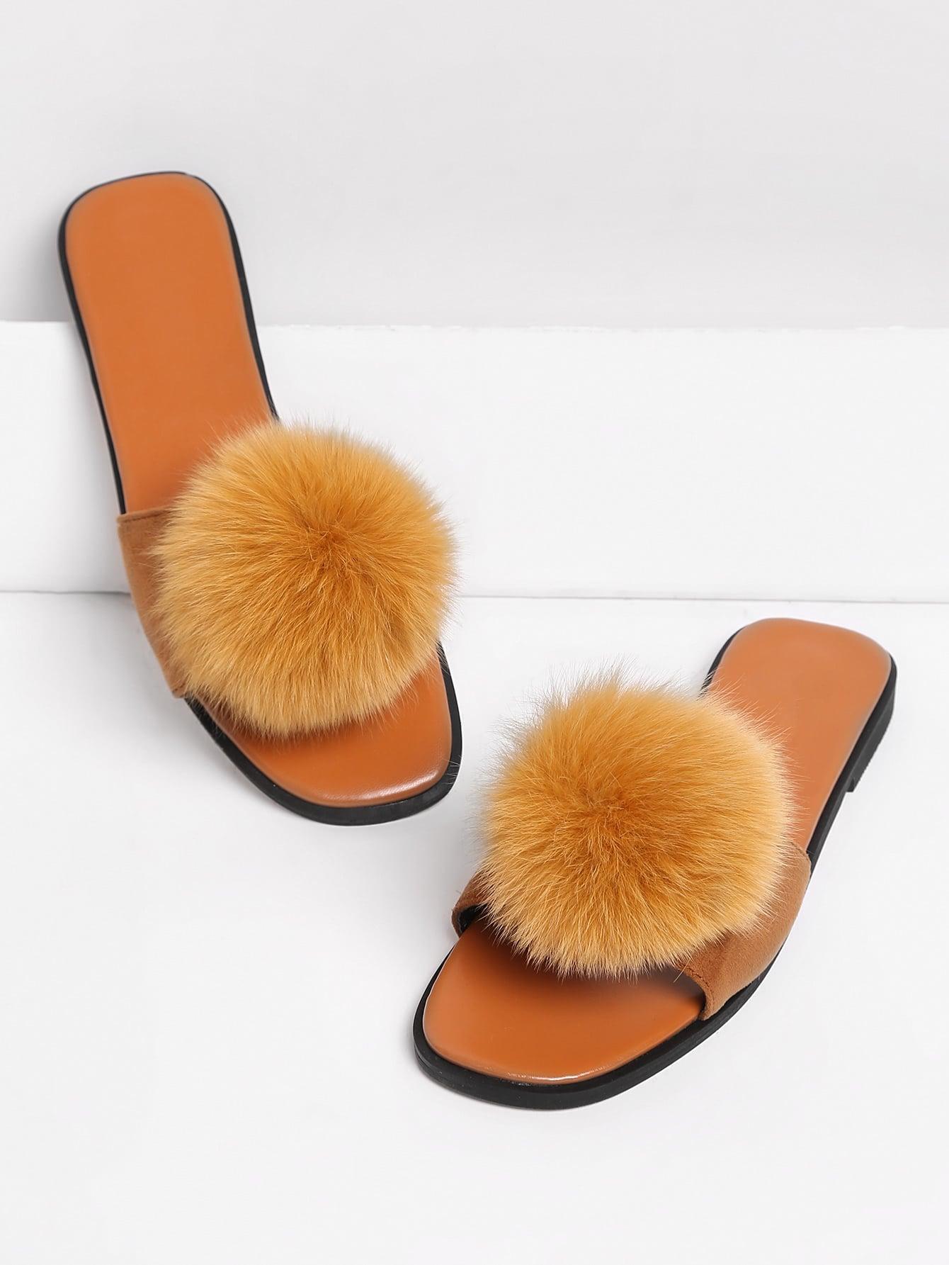 Pom Pom Decorated Flat Slippers