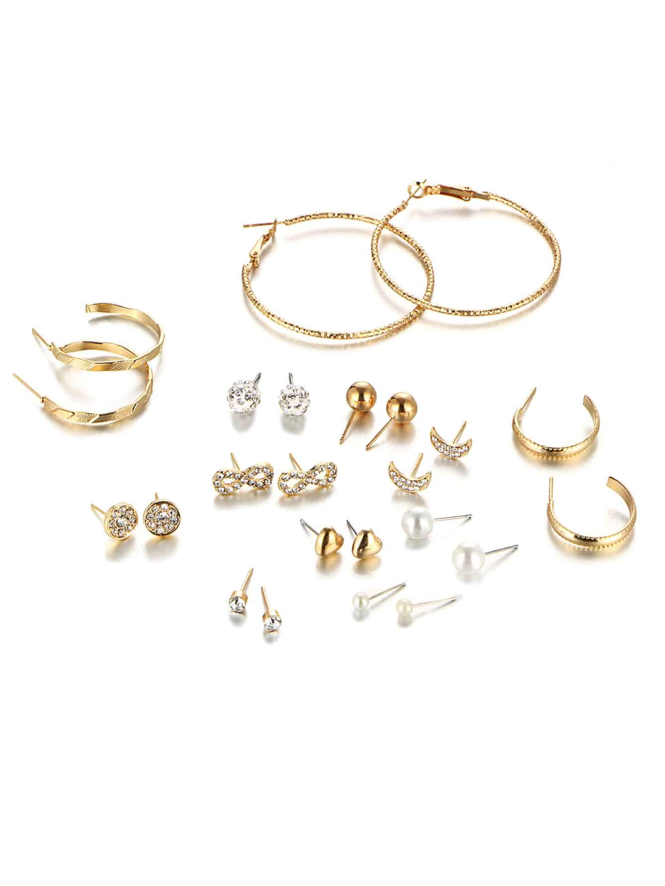 Rhinestone Stud Earrings & Hoop Earrings Set contrast hoop earrings with turquoise
