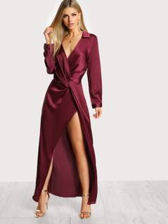 Front Twist Split Satin Wrap Dress