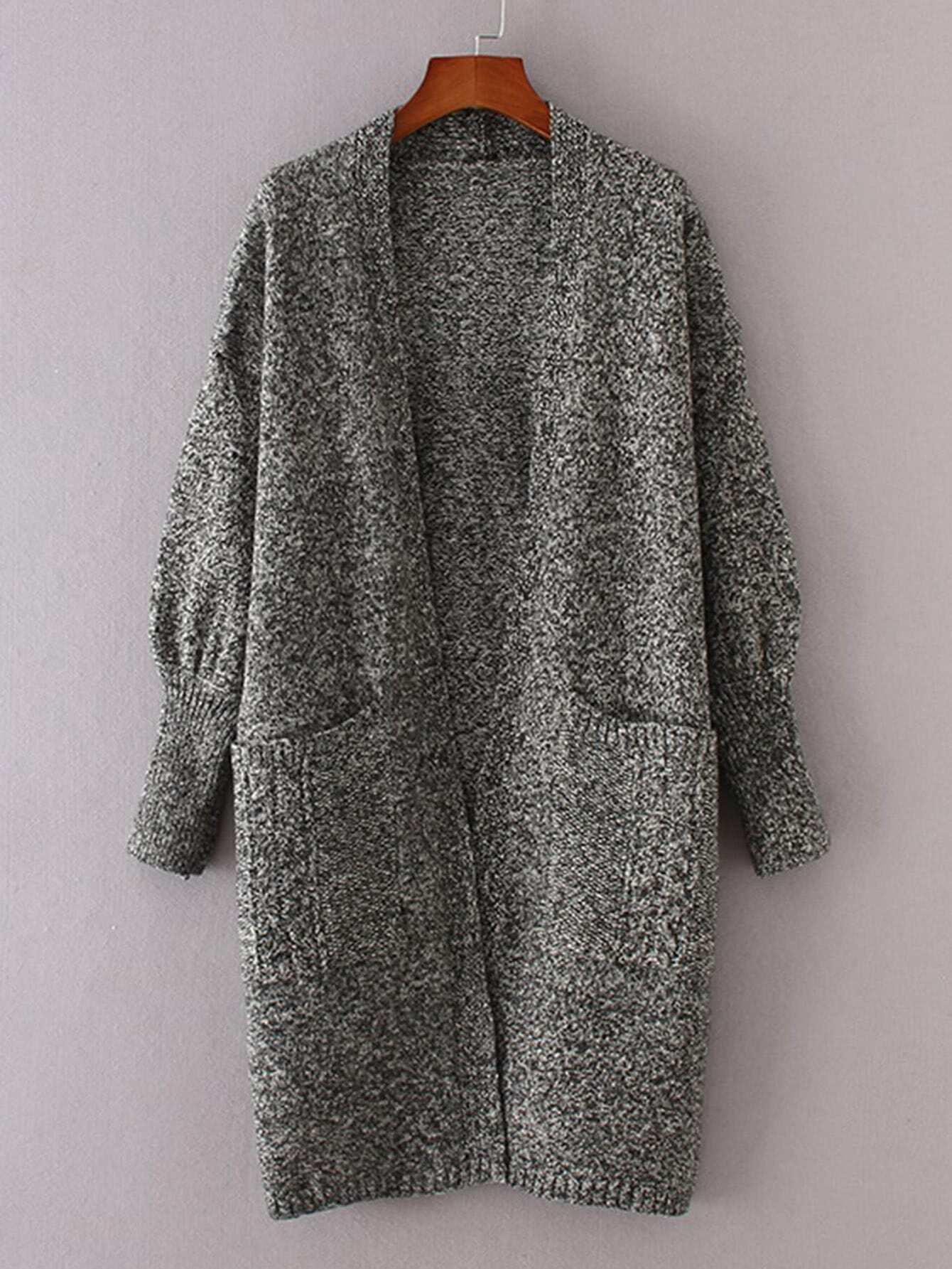 Front Pocket Space Dye Longline Cardigan sweater170921209