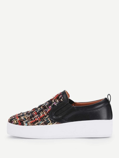 Mixed Pattern Flatform Slip On Plimsolls
