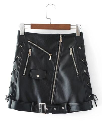 Zipper Detail Belted Moto Skirt
