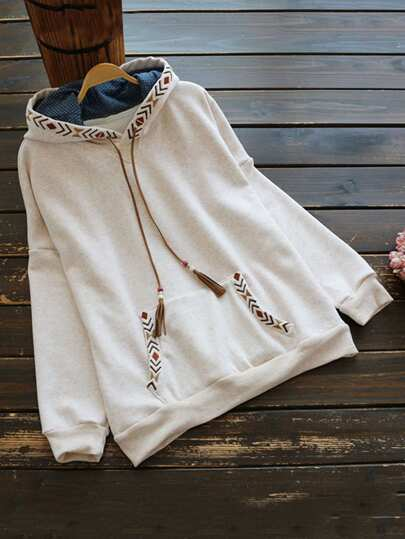 Beaded Tassel Drawstring Embroidered Heather Knit Hoodie