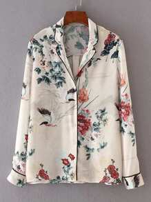 Blusa pijama floral piping en contraste
