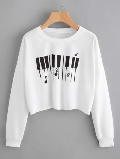 Piano Keys Print Raw Hem Crop Pullover